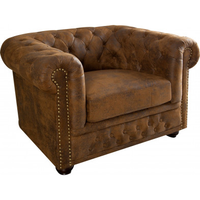 Fauteuil Chesterfield vintage coloris brun L. 110 x P. 85 x H. 70 cm collection Jadon
