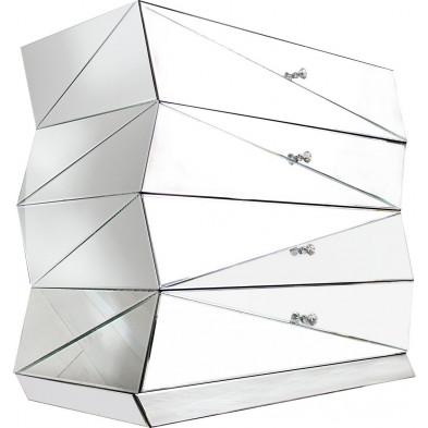 Commode design en verre transparent L. 50 x H. 90 cm collection Higham