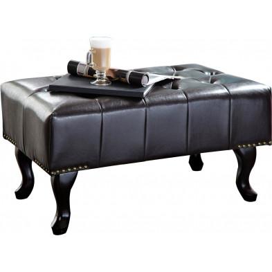 Repose-pied et pouf marron classique en bois massif pvc pouf L. 80 x P. 45 x H. 45 cm  collection Jadon