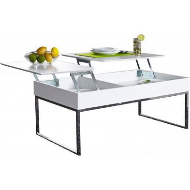 Table basse 110 cm design avec plateau relevable en mdf coloris  blanc collection Stroo