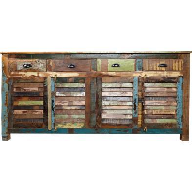 Buffet design en bois massif coloré L. 180 x P. 45 x H. 100 cm collection Dupere