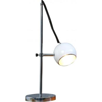 Lampe à poser blanc classique en acier chromé P. 15 x H. 59 cm collection Comb