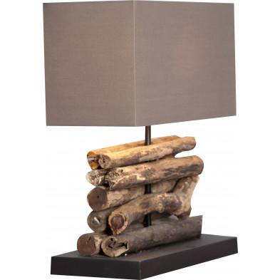 Lampe à poser 35 cm ultra design bois flotté collection Mariama