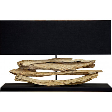 Lampe à poser 80 cm coloris noir en bois flotté collection Doughton