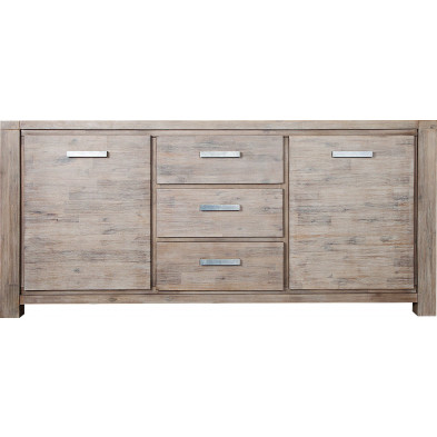 Buffet contemporain en bois massif acacia coloris blanc L. 180 x H. 85 cm collection Veldmeijer