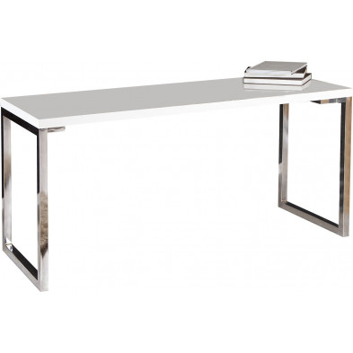 Bureau design blanc rectangle blanc laque L. 160 x P. 60 x H. 75 cm collection Ravena