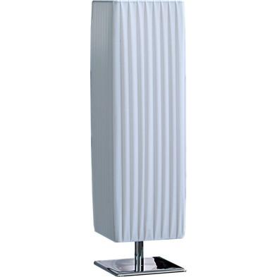 Lampe à poser blanc design en tissu plissé L. 15 x P. 15 x H. 58 cm collection Mouras
