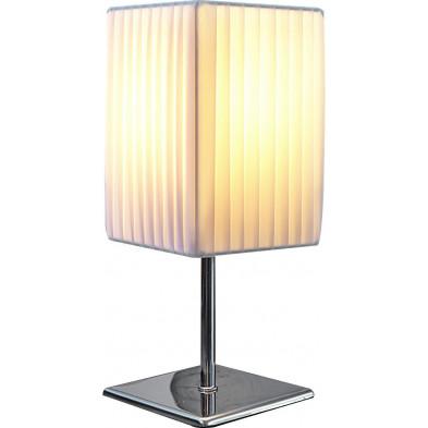 Lampe à poser design tube coloris blanc L. 15 x P. 15 x H. 43,5 cm collection Baflo