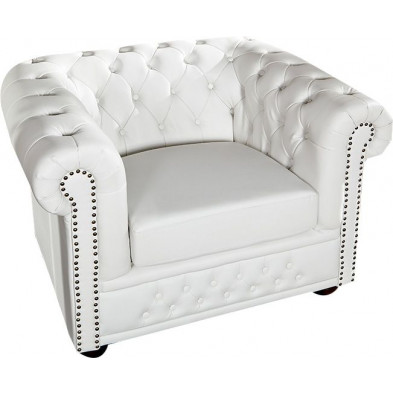 Fauteuil Chesterfield coloris blanc L. 110 x P. 86 x H. 72  collection Jadon