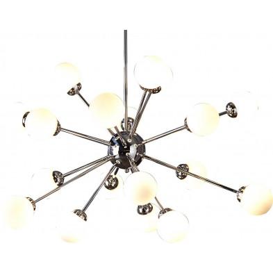 Suspension ultra design à 18 lampes en verre blanc 150 cm collection Telford