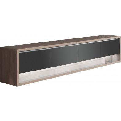 Buffet - bahut - enfilade contemporain marron moderne en panneaux de particules de haute qualité L. 249,5 x P. 48 x H. 56,6 cm collection Flordelis