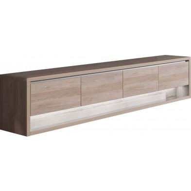 Buffet - bahut - enfilade contemporain marron moderne en panneaux de particules de haute qualité L. 249,5 x P. 48 x H. 56,6 cm collection Bartels