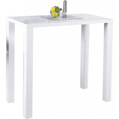 Simple table bar blanc laqué rectangle  L. 60 x H. 105 cm collection Antegnate