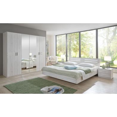 Ensemble armoire 225 cm + lit 140x200 + 2 chevets coloris imitation chêne collection Issud
