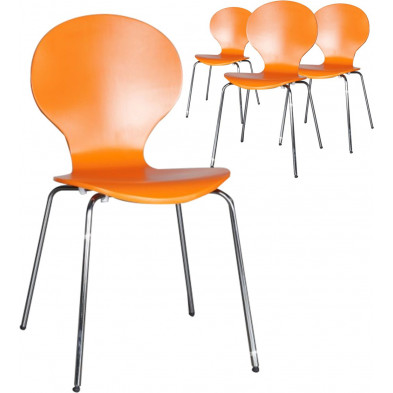 Lot de 4 chaises design en bois et métal coloris orange L. 50 x H. 85 cm collection Schendelbeke