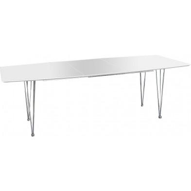 Table à manger blanche extensible design L. 170-270 x H. 75 cm collection Amial