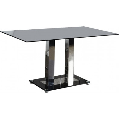 Table à manger en verre noir et acier inoxydable L. 160 x P. 90 x H. 75 cm collection Whitebrook