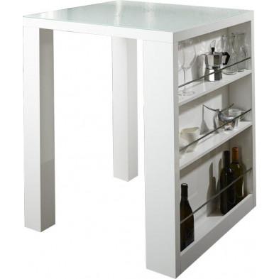 Table bar carré design blanc laqué L. 80 x H. 110 cm collection Langeler
