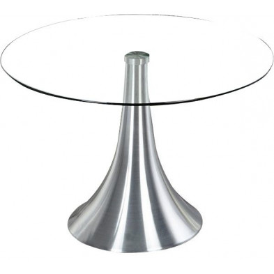 Table ronde 70 cm en verre et métal chromé design collection Evansburg