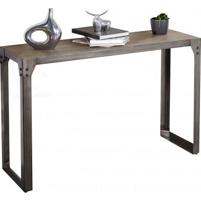 Meuble console design en bois d'acacia et métal noir L. 120 x P. 40 x H. 85 cm collection Lantz