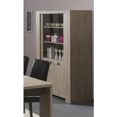 Argentier - vaisselier - vitrine marron contemporain en panneaux de particules de haute qualité  L. 100 x P. 54 x H. 180 cm  collection Small