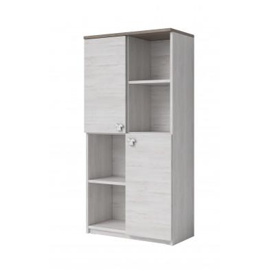 Armoire 2 portes contemporaine coloris chêne blanc et chêne foncé L. 90 x P. 40 x H. 130 cm collection Vigorous