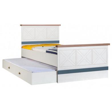 Lits blanc contemporain en panneaux de particules mélaminés de haute qualité collection Deest