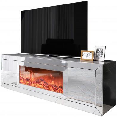 Meuble tv design avec cheminée artificiel integré en miroir clair livré monté 160 cm de largeur collection FIBRAMU