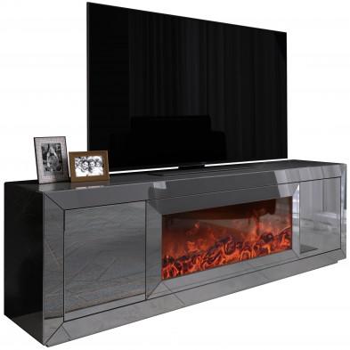 Meuble tv design avec cheminée artificiel integré en miroir anthracite livré monté 160 cm de largeur collection FIBRAMU