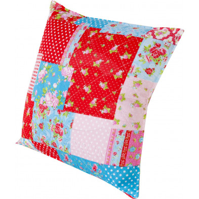 Coussin design patchwork 45 cm rouge collection Perpetual