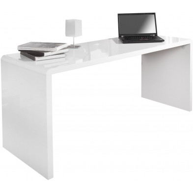 Bureau design coloris blanc L. 160 x P. 60 x H. 75 cm collection Gieben
