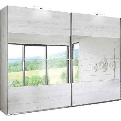 Armoire porte coulissante blanc contemporain L. 225 x P. 59 x H. 210 cm collection Morabito