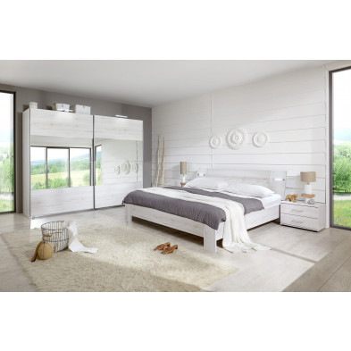 Packs chambre à coucher adulte blanc contemporain 140 x 200 cm collection Morabito