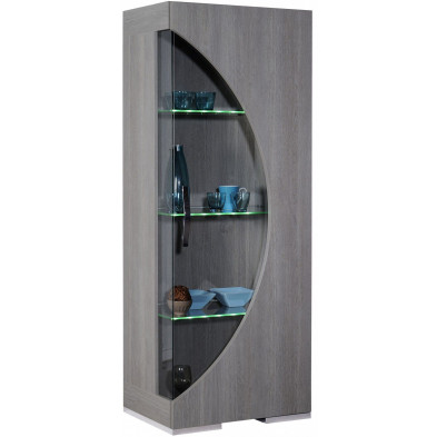 Vitrine marron design L. 65 x P. 45 x H. 173 cm collection Breakfast