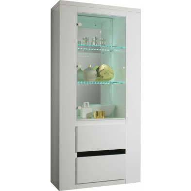 Vitrine blanc design L. 75 x P. 47 x H. 172 cm collection Portland