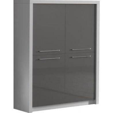 Argentier - meuble bar blanc design en panneaux de particules en finitions laquées L. 120 x P. 40 x H. 149 cm collection Vada