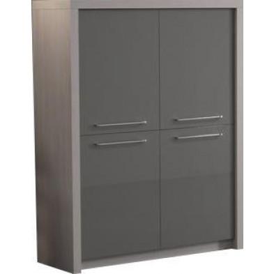 Meuble bar gris design en panneaux de particules de haute qualité L. 120 x P. 40 x H. 149 cm collection Bulfons