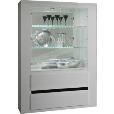 Vitrine blanc design L. 120 x P. 47 x H. 172 cm collection Portland