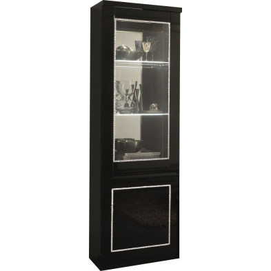 Vitrine noir design L. 58 x P. 40 x H. 191 cm collection Ottawa