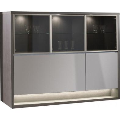 Vitrine blanc moderne en panneaux de particules de haute qualité L. 189,2 x P. 48 x H. 145,1 cm collection Hoornweg
