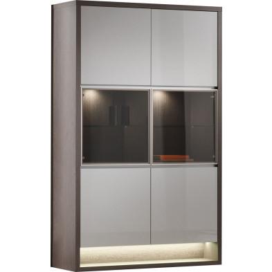 Vitrine blanc moderne en panneaux de particules de haute qualité L. 128,9 x P. 48 x H. 207,3 cm collection Hoornweg