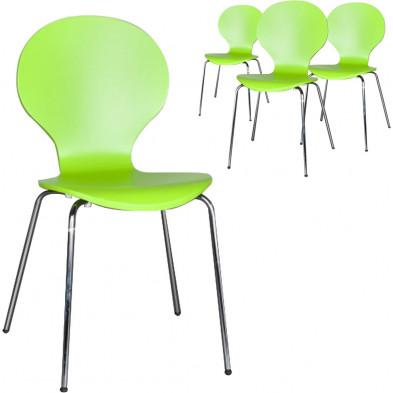 Lot de 4 chaises design en bois et métal coloris vert L. 85 x H. 50 cm collection Schendelbeke