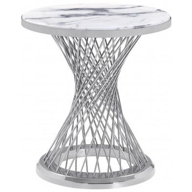 Table d'appoint rond plateau en marbre gris et piètement en acier inoxydable poli argenté Collection MARCELO L. 47 x P. 47 x H. 60 cm