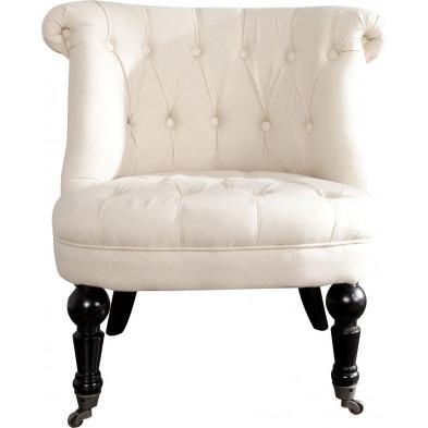 Fauteuil baroque moderne en mdf et 100 % coton coloris beige L. 70 x P. 65 x H. 75 cm collection Dodd