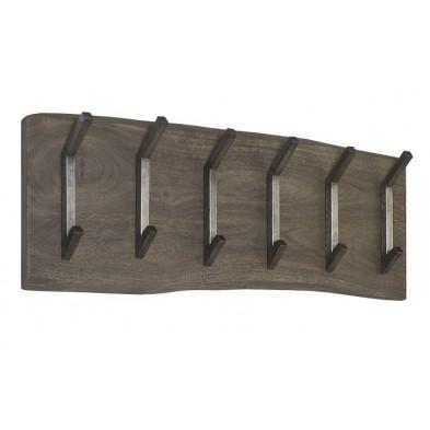Porte manteau argenté contemporain en bois massi d'acacia L. 100 x P. 13,8 x H. 35 cmcollection Cursi