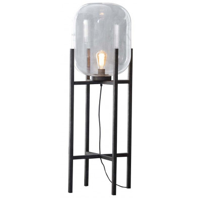 Lampadaire argenté industriel en acier L. 40 x P. 40 x H. 110 cm  collection Ogun