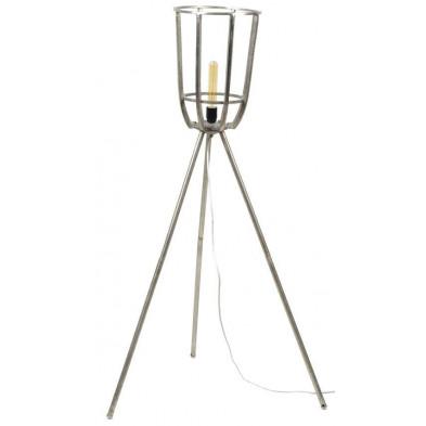 Lampadaire argenté design en acier  L. 30 x P. 30 x H. 134 cm  collection Lush