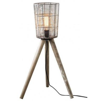 Lampadaire gris vintage en acier et bois massif L. 40 x P. 40 x H. 68 cm collection Emanuela