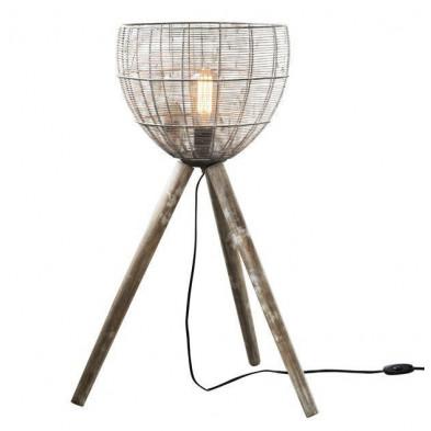 Lampadaire gris vintage en acier et bois massif L. 50 x P. 50 x H. 73 cm collection Emanuela