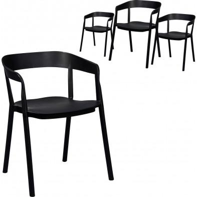 Lot de 4 Chaises de salle à manger moderne Noir Design en Polyuréthane  L. 53 x P. 57 x H. 75 cm  collection Tense